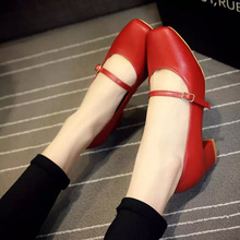 New Vintage Medium Heel shoes for women Mary Jane Classics women's Pumps Square Heel Red Black Shoes zapatos mujer BJ013