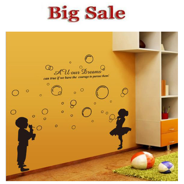 free delivery boy blowing bubbles black little girl The sitting room the bedroom of children room wall stickers(China (Mainland))