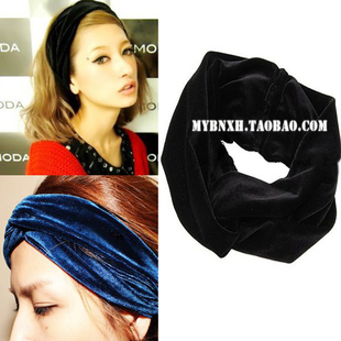 New Arrival Celeb Style Neon Headband Vintage Double Stretch Velvet Turban Headwrap Black Dark Blue Red Free Shipping HT06(China (Mainland))