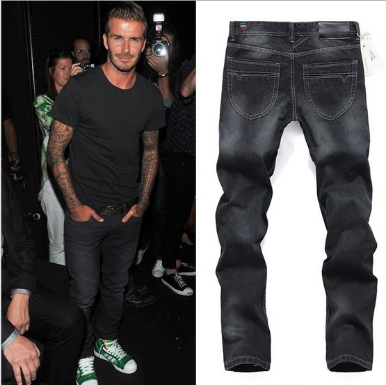 New 2015 Famous Brand Men's Black Jeans Same David Beckham Men Fashion Jeans Casual Slim Fit Denim Pants 32 36 38 40(China (Mainland))