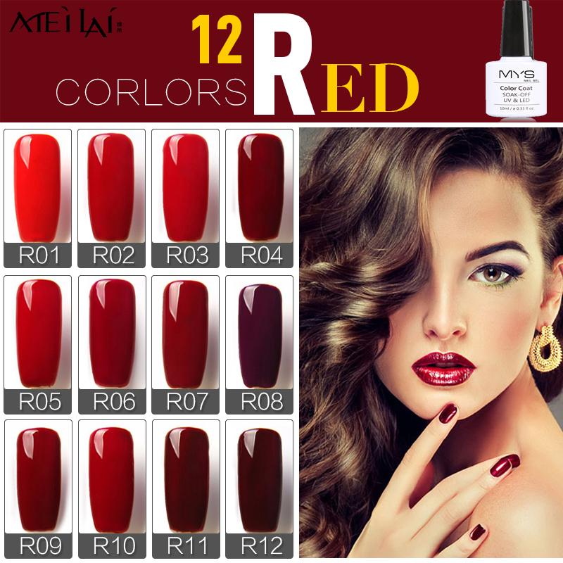 MYS 10ml 12 Colors Wine Red Series 12 Colors Pick 1 UV Gel Nail Varnish Nail Gel Polish Gel LED UV Nail Art Manicure(China (Mainland))