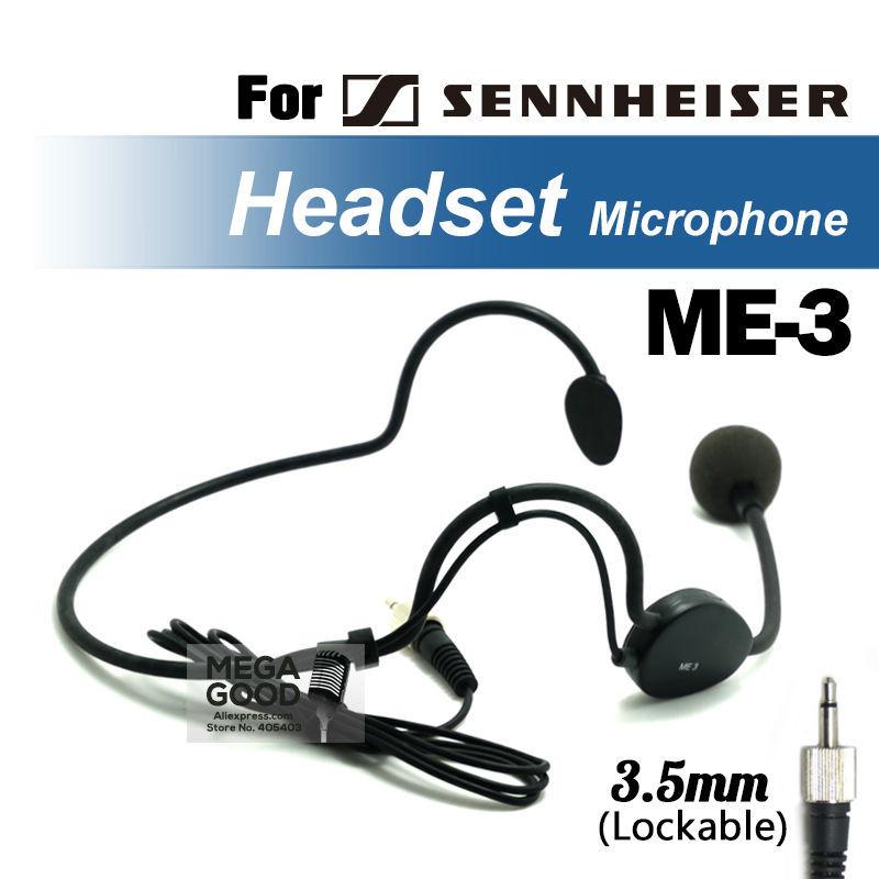 Free shipping!! Headworn Headset Microphone ME3 Condenser ME 3 Mic For EW122 EW322 G2 G3 Wireless Systems 3.5 mm Screw Lock Plug(China (Mainland))