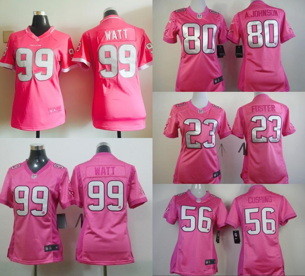 100% stitched women pink love Houston Texans ladies 80 Andre Johnson 23 Arian Foster 56 Brian Cushing 99 J.J. Watt(China (Mainland))