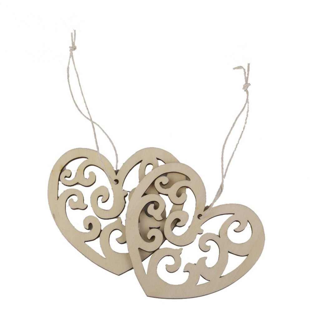 DIY 10pcs/lot wedding supplies laser cut wood products hanging wedding accessories decorations,wooden pendants with strings(China (Mainland))