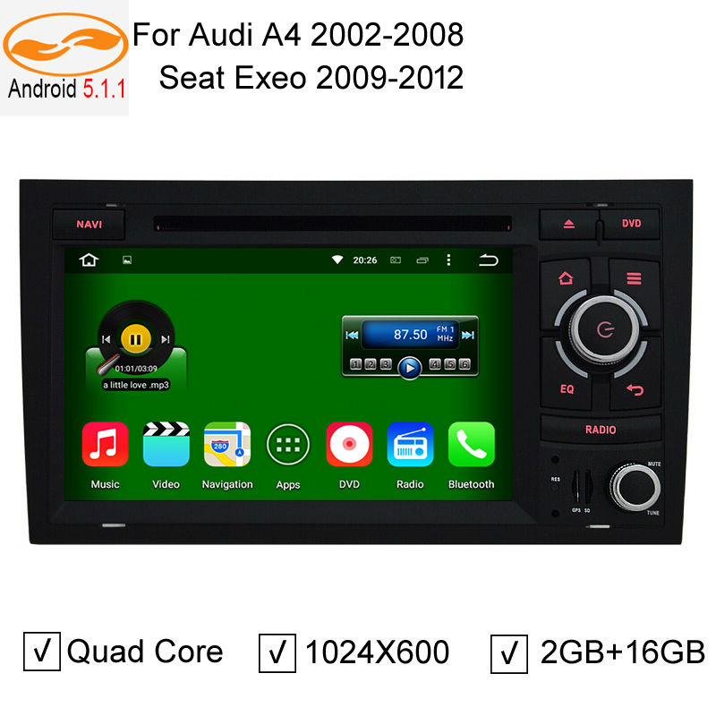 HD Touch Screen Car DVD Head Unit GPS Navigation Radio Audio Bluetooth Support 1080 HD Format for Audi A4 2002-2008(China (Mainland))