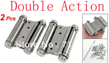 "Door Stainless Steel 3"" Double Action Spring Hinges 2 Pcs"