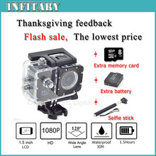 2015 SJ4000 HD 1080P 10MP Waterproof Camcorder Extreme Outdoor Mini Sports DV Action Record Camera Add battery+monopod+8G card