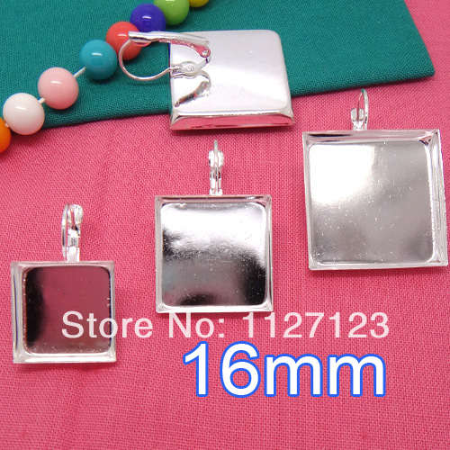 Free ship!500pcs 16mm square cameo base cabochon setting earwires leverback bezel earring blank tray findings nickel free<br><br>Aliexpress