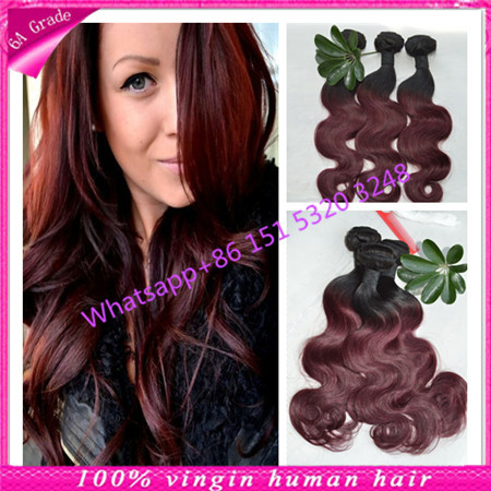 Two Tone Ombre Hair Brazilian Body Wave Ombre Brazilian Hair Weave Bundles 1b 99j Color Ombre Hair Extensions 6A Ms Lula Hair