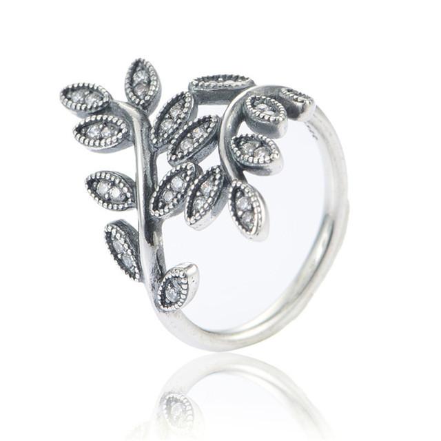 Чистый 925-Sterling-Silver ювелирные женщины мода листьев кольцо с камнями камни матч ес марка украшения для женщин DIY создание