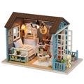 DIY Wood Doll House Wooden Bed Miniature With LED Furniture Birthday Gift Miniaturas Casa De Boneca