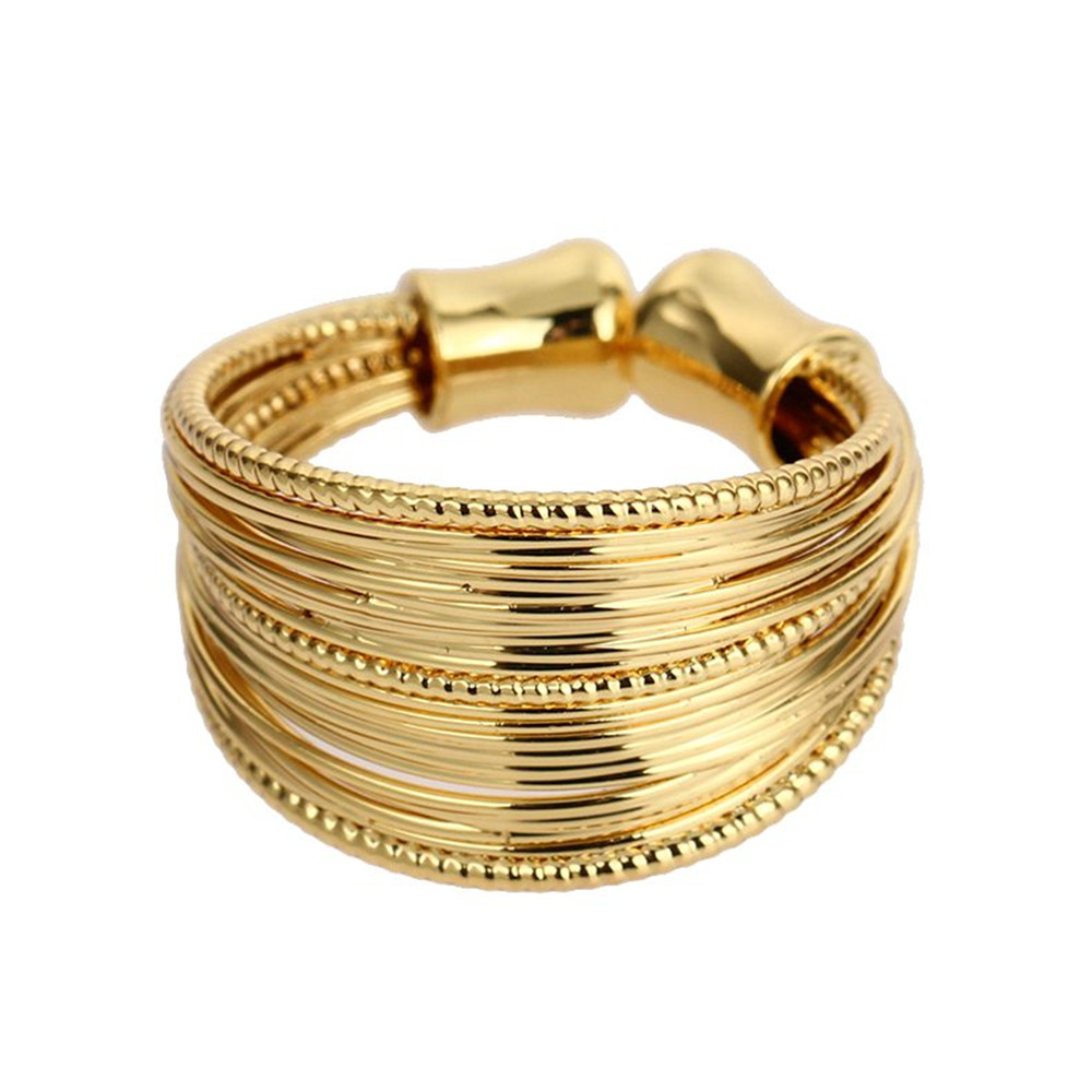 Boho Chunky Ring Trendy Real Gold Plated Hippie Ring Stacking Copper Wire Unisex Chunky Rings Copper Knit Crochet Wide Ring Boho(China (Mainland))
