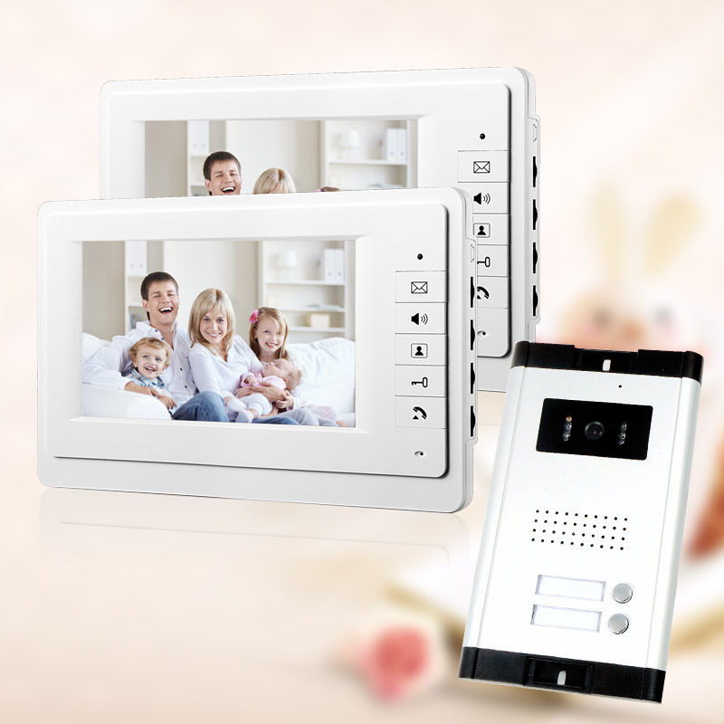 """FREE SHIPPING Brand 7"""" Video Intercom Entry Door Phone System 2 Monitor 1 HD Doorbell Camera for 2 Household Apartment Wholesale(China (Mainland))"""