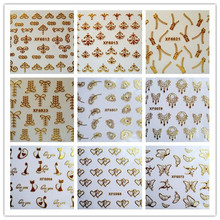 3D gold nail art sticker on nails beauty manicure fashion stickers for nail butterfly cat love zip design nail stickers