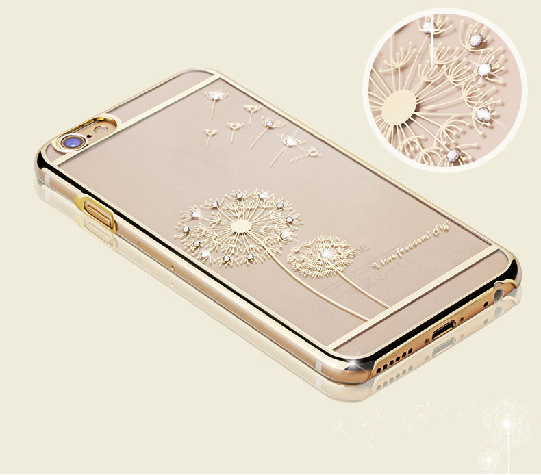 Luxury Clear Dandelion Crystal Diamond Rhinestone Capa Case For Apple Iphone 6 Phone Transparent Gel Electroplate Back Cover(China (Mainland))