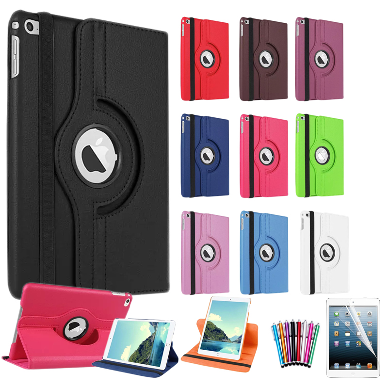 For Apple iPad Mini 4 Cover Case 360 Rotating Smart Cover for Mini iPad PU Leather Protect Case w/Screen Protector+Stylus Pen(China (Mainland))