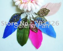 12 pairs/lot Free Shipping 2011 new arrival Colorful Natural Goose Feathers with Vintage Leaf Earrings Assorted Colors EF11005(China (Mainland))