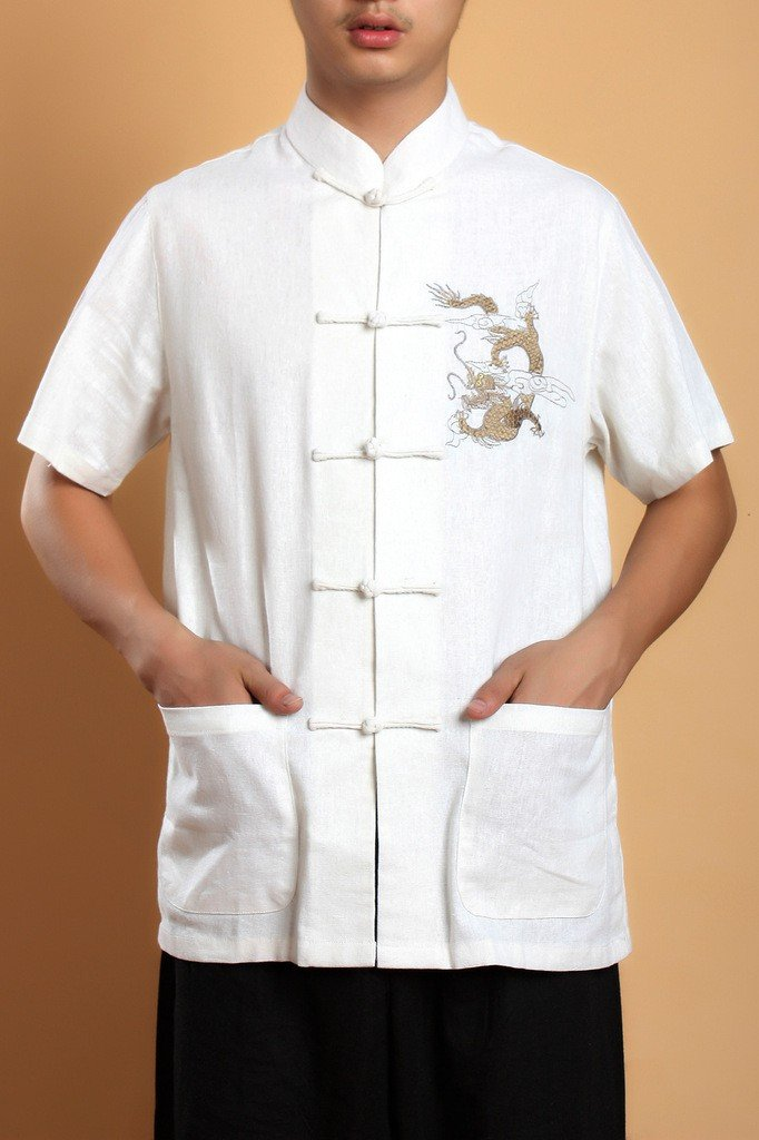 Beige Hot Selling Chinese Style Men's Kungfu shirt Tops short sleeves M,L,XL,XXL,XXXL(China (Mainland))