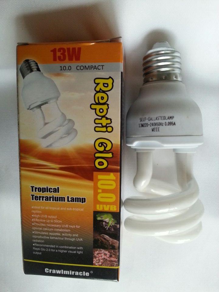 Repti Glo UVB 10.0 13W Compact Tropical Terrarium Lamp,Reptile/ Pet calcium supplement lamp/bulb,similar to desert location(China (Mainland))