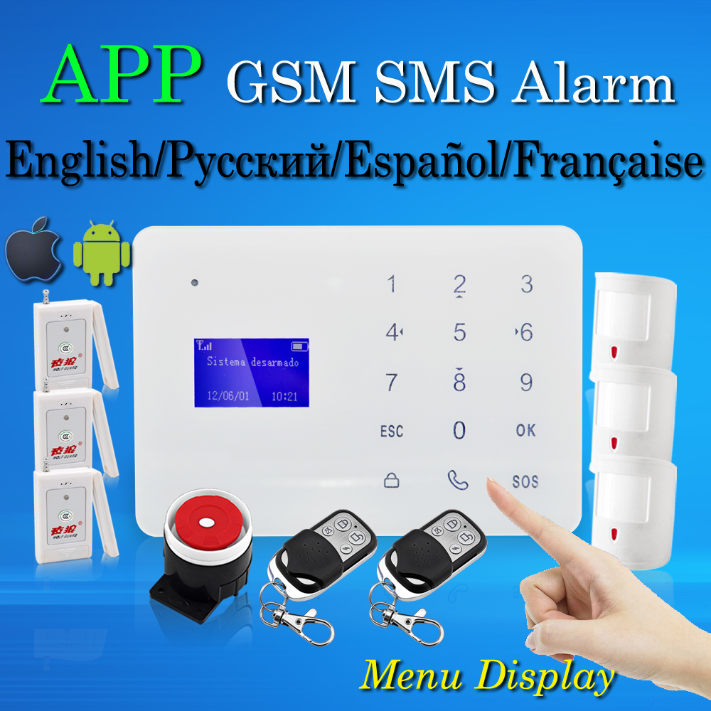Фотография Free Shipping Wireless Home Burglar GSM SMS Alarm System APP Menu Touch Keyboard 433MHz English Russian Spanish French Language