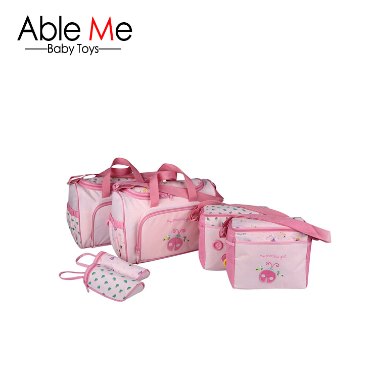 Fashion mother bags cute cartoon pink baby carriage multifunctional maternity diaper changing bags for baby even wholesale(China (Mainland))