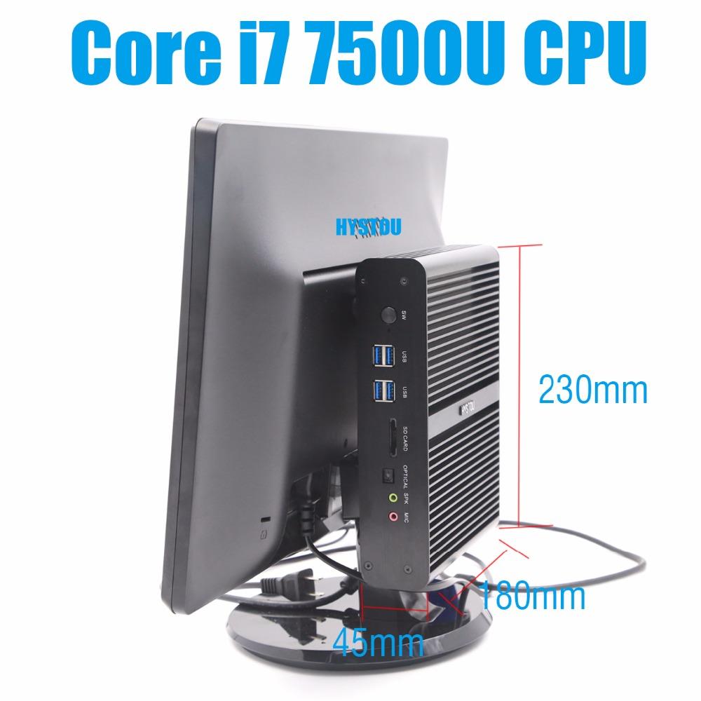 HYSTOU Mini PC Windows 10 intel Core i7 7500U Kaby Lake 3.5GHz Intel HD Graphics 620 4K HTPC HDMI+DP Linux Kodi Mini Computer(China (Mainland))