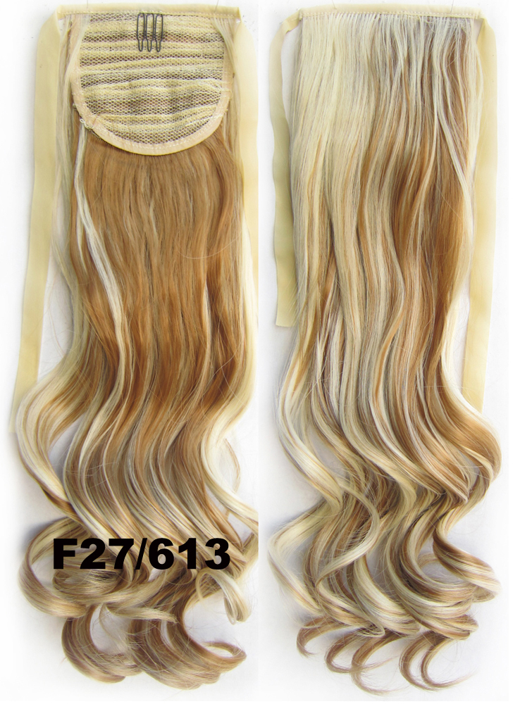 New Style Heat Resistance Synthetic wavy Hairpieces Ribbon Ponytail Extension,European Trend,55cm,80g,Color F27/613,RP-888,1pc(China (Mainland))