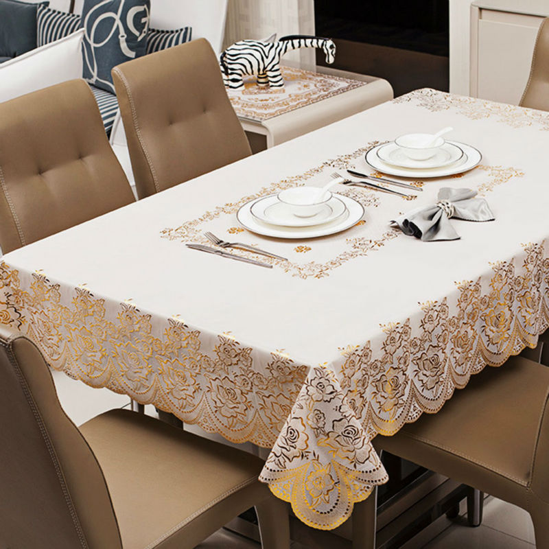 PVC Vinyl Table Cloth European Style Rectangular Bronzing Wipe Clean Oilcloth Waterproof Dining Tablecloth Cover 135*180cm(China (Mainland))
