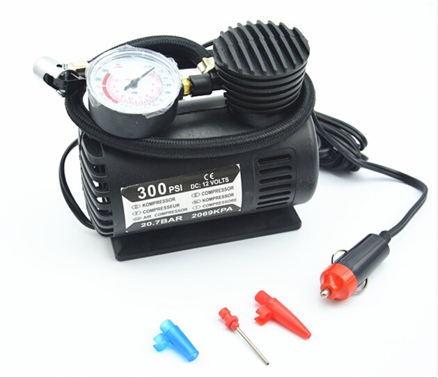 Portable 12V 300PSI Electric Car Tire Tyre Inflator Pump Auto Car Pump Air Compressor with 3 Pneumatic Nozzle(China (Mainland))