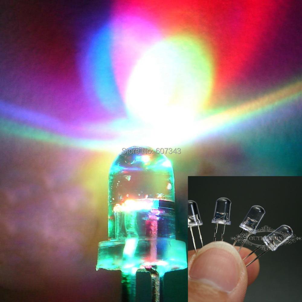 100pcs/lot RGB Full Color Rainbow Ultra Bright LED Fast Flashing Blink Round LED light 5MM LED Lamp Emitting Diodes(China (Mainland))