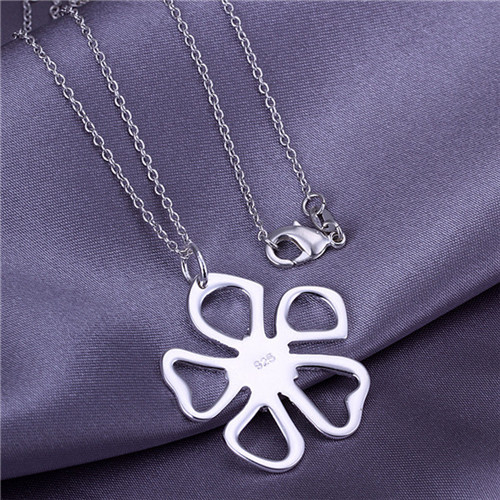 5stering silver plated pendant necklace WITHOUT CHAIN 925 stamped Flower charm women P006 - Tracy Jewelry store