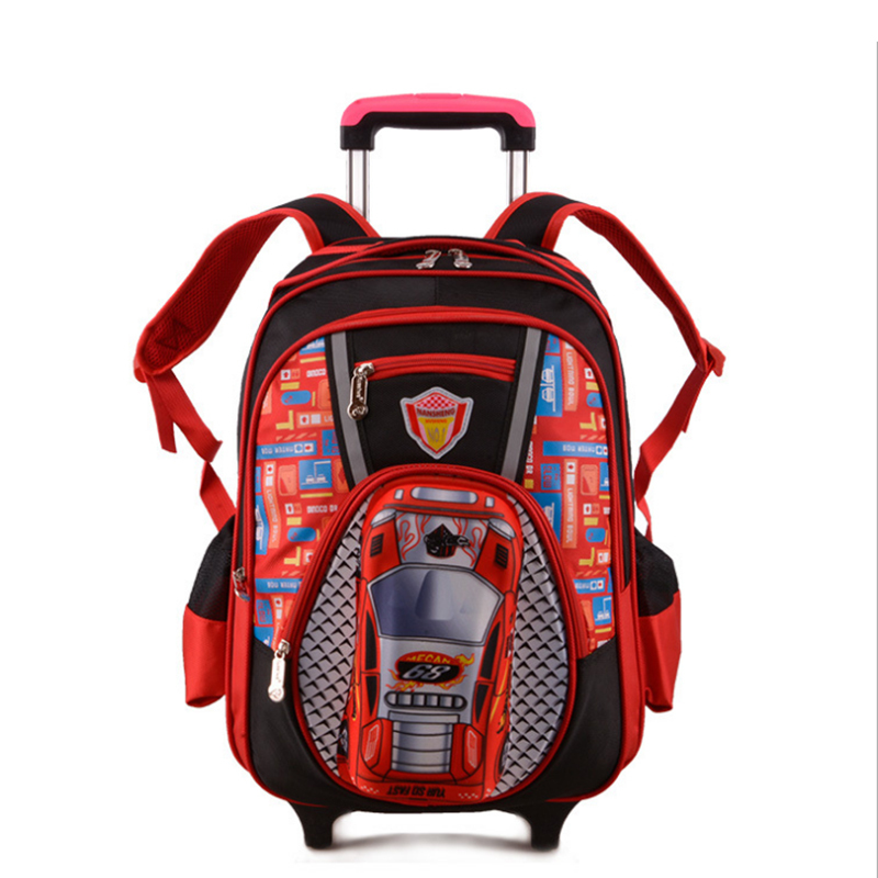 2015 New Kids Wheels Removable Trolley Backpack Wheeled Bags Children School Bag Boys Travel Bags Children's School Backpacks(China (Mainland))