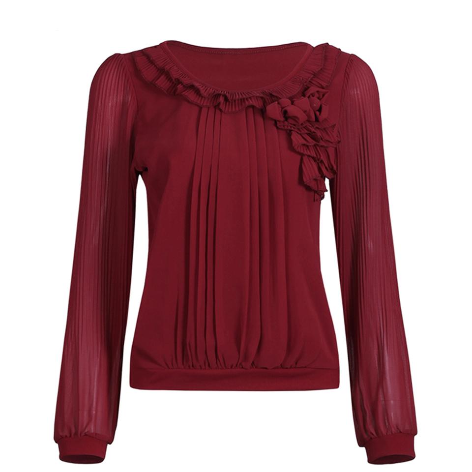 fashion sleeve chiffon blouse casual shirts
