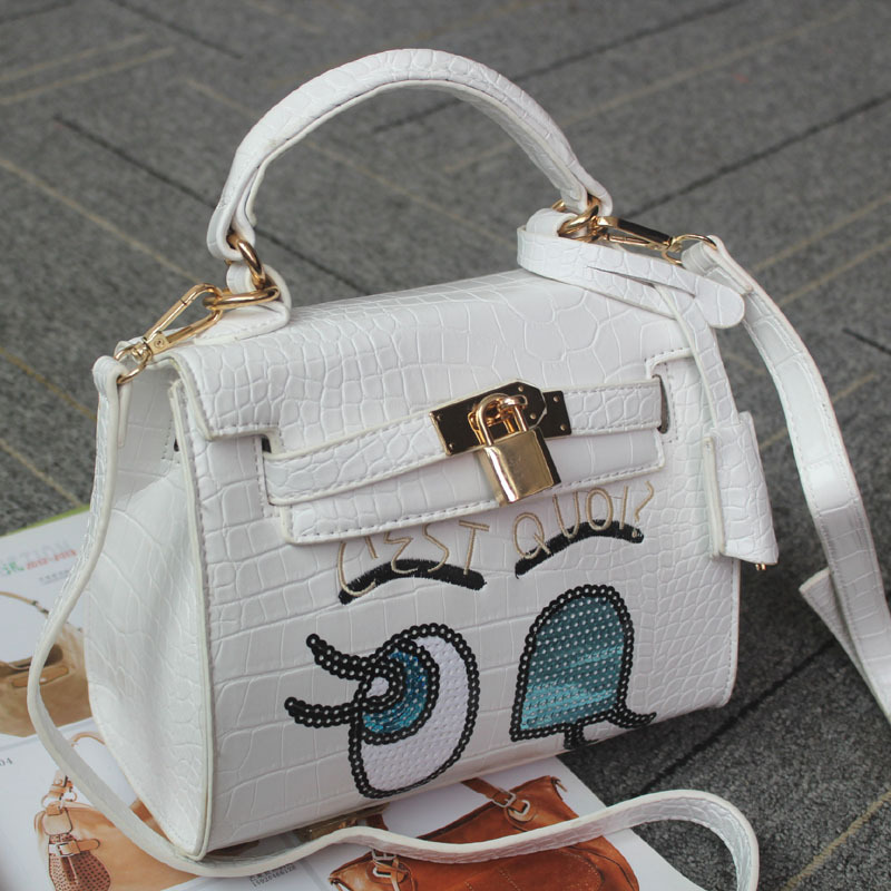 Cheap Designer Handbags Wholesale Cartoon Big Eyes Korean Crocodile Print Handbags Cheap Designer Handbags Low Price Hot Sale(China (Mainland))