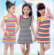 High Quality Iridescence Cotton Dress For Kids  Girl Summer Dress 2105 Child Wear Princess Dress Summer Clothes For Girls #D0