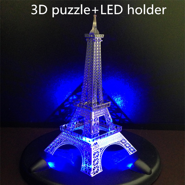 DIY 3D puzzle craft Eiffel Tower build +nice led base metal 3D models goodview puzzle Building models(China (Mainland))