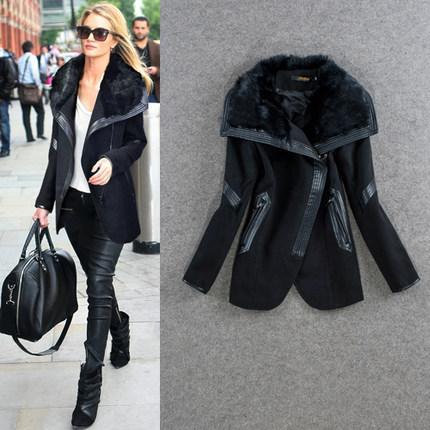 High Quality New Womens Wool Coat Rabbit Fur Collars Outerwear Winter Silm Black Overcoat Women Blends Size S-XXlОдежда и ак�е��уары<br><br><br>Aliexpress