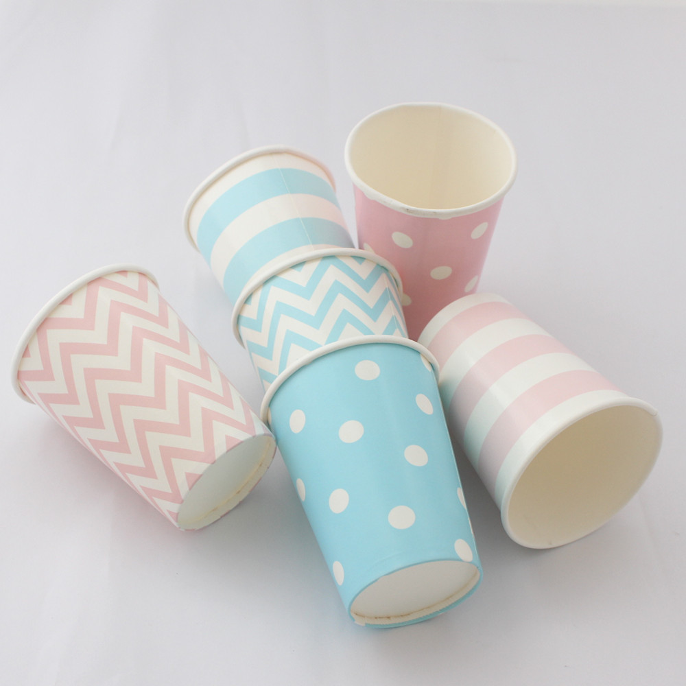 Paper Cups 72pcs/lot Disposable Decoration Party Chevron Striped Dot Paper Cups Outdoor Camping Picnic Drinkware(China (Mainland))