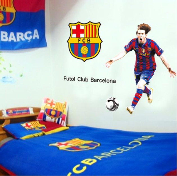 Crazy Style DF9905 Messi Barcelona football sports wall stickers decorated Five manufacturers wholesale 60 * 90(China (Mainland))