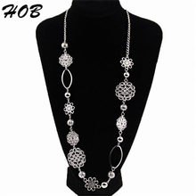 Bohemian Jewelry Flower Alloy Layered Statement Necklace for Women Vintage fashion long necklaces for women 2015 colar collar