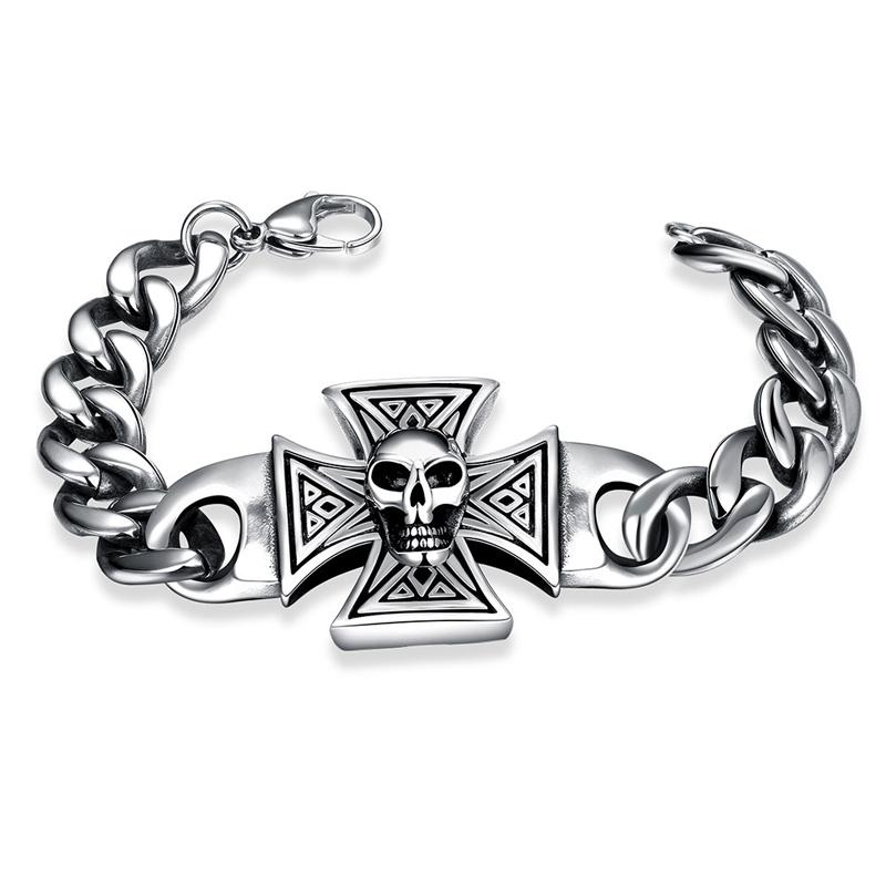 2016 New Man Vintage 316L Stainless Steel Charm Bracelets&Bangles Retro Antique Punk Rock Chain Skull Cross Bracelet For Men boy(China (Mainland))