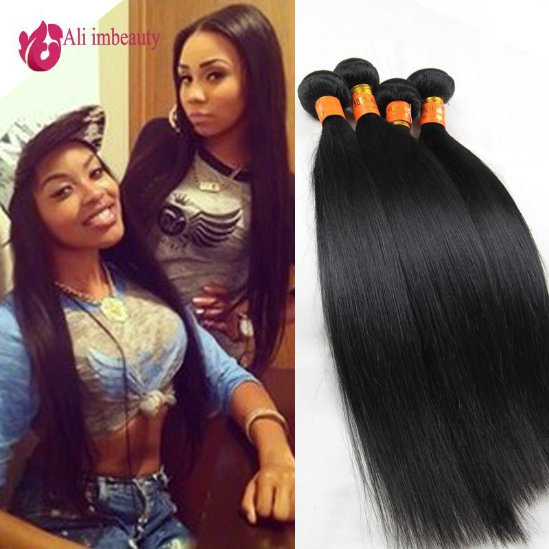 Russian Human Hair Unprocessed Virgin Russian Hair Extension,Silky Straight Russian Virgin hair 4 pcs lot Natural Black