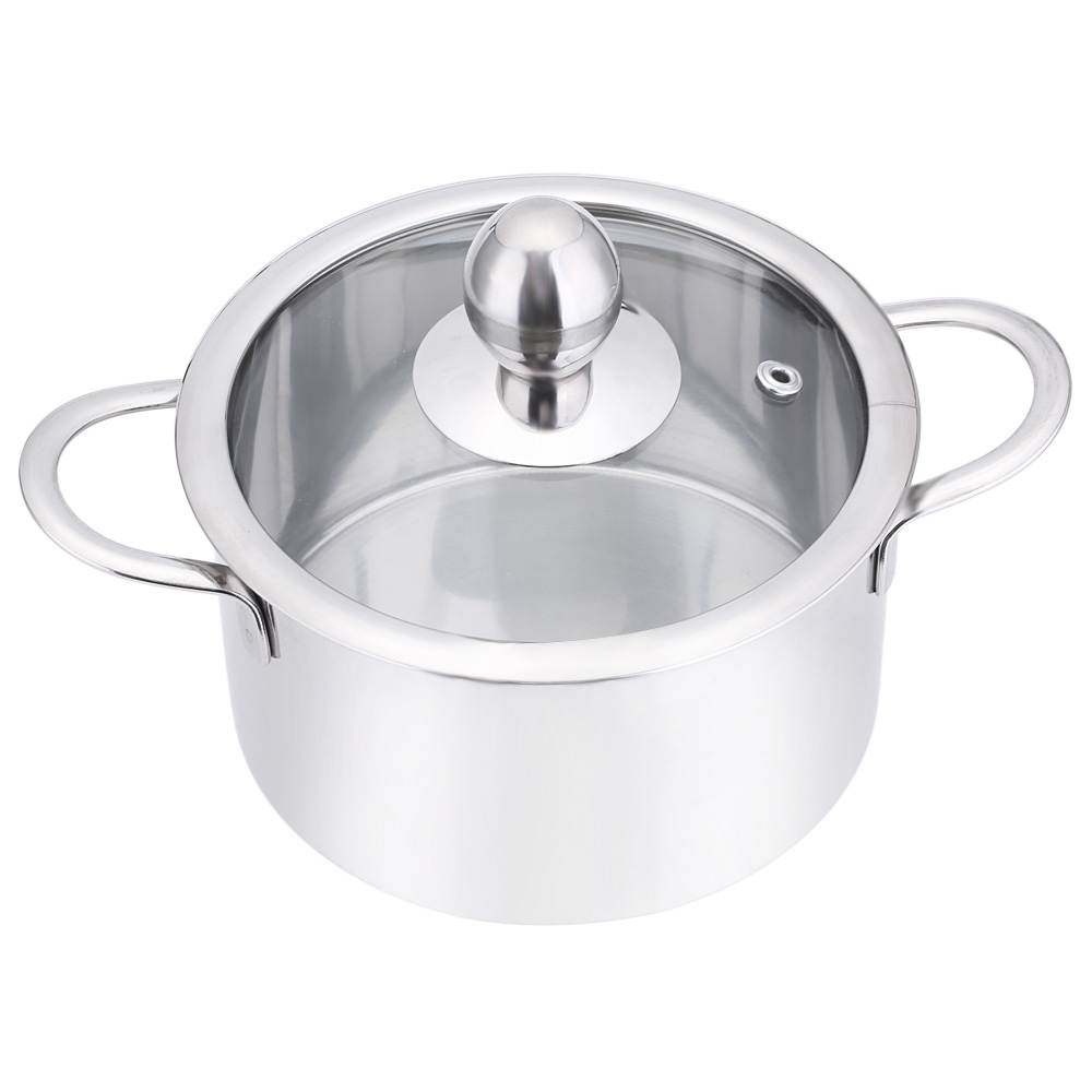 16cm 18cm 20cm Hot Pot With Glass Cover Stainless Steel Pots Cooking Pots Non-stick Milk Soup Stockpot High Heat Resistance(China (Mainland))