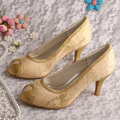 Wedopus Embroidery Lace Fabric Gold Shoes Party Mid Heels Open Toe Dropshipping