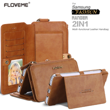 FLOVEME Note3/Note4 Brand Retro Leather Phone Case For Samsung Galaxy Note 3 / Note 4 Metal Ring Coque Card Wallet Cover(China (Mainland))