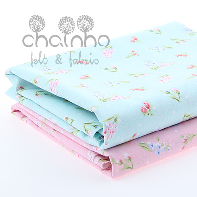 Cotton Fabric For Sewing DIY Material For Dress Curtain Doll Bag Telas light Blue flowers and