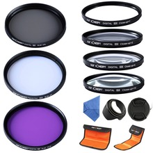 52mm macro close up + 1 + 2 + 4 + 10 lenti set lens hood uv cpl fld lens filter kit cap per nikon d3100 d3200 d5100 18-55mm(China (Mainland))