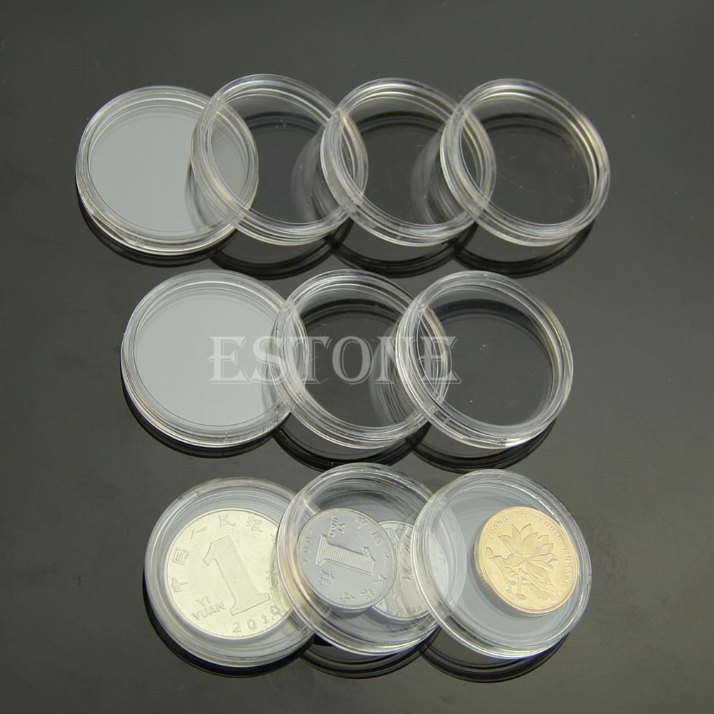 10pcs 30mm Applied Clear Round Cases Coin Plastic Storage Capsules Holder Round(China (Mainland))