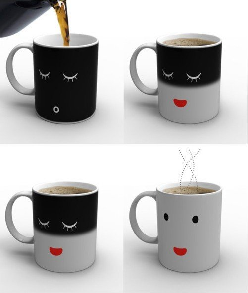 hot sale! Ceramic Smilling Face Magic Color Changing Mug/ Coffee milk tea Cup for christmas gift(China (Mainland))