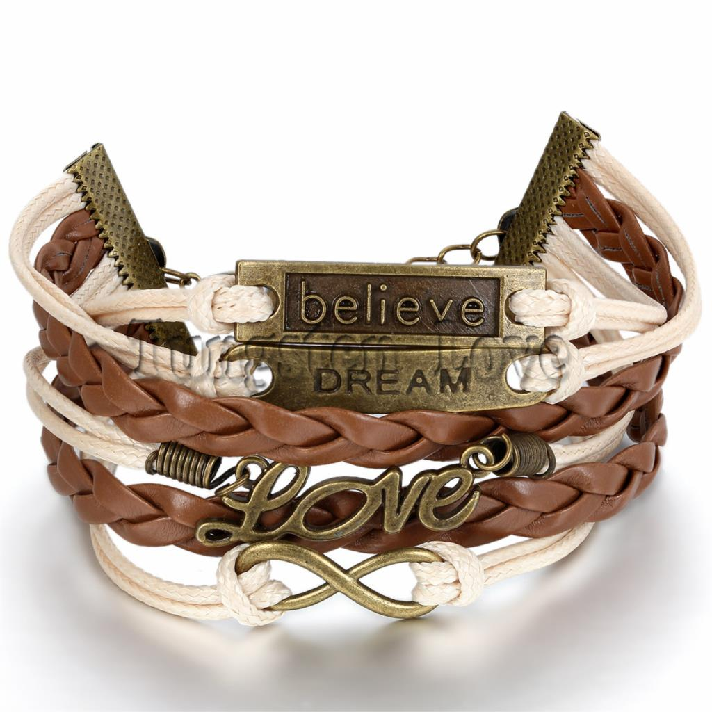 Women Fashion Vintage Leather Bracelet Infinity Love Believe Dream Multilayer Charm Bracelets girl gift Brown Color Wholesale(China (Mainland))